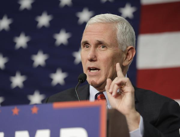 Republican vice presidential candidate Indiana Gov. Mike Pence speaks at a campaign rally Friday, Sept. 30, 2016, in Fort Wayne, Ind. (AP Photo/Darron Cummings)