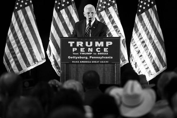 Republican vice presidential candidate, Indiana Gov. Mike Pence speaks during a campaign stop in Gettysburg, Pa., Thursday, Oct. 6, 2016. (AP Photo/Matt Rourke)