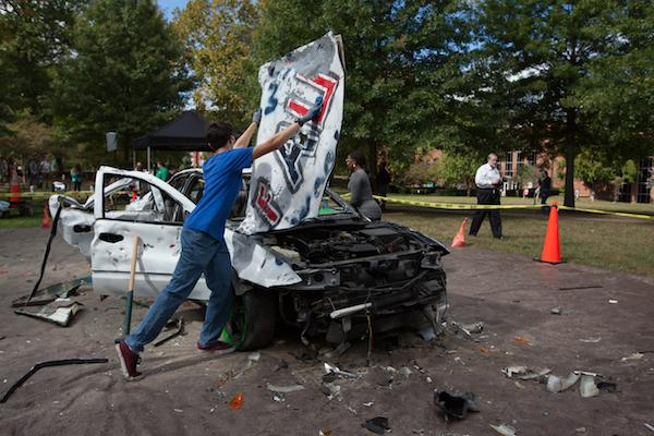 Participating marshall students relieved some midterm stress at the Car Bash on Buskirk Field, October 13, 2016,