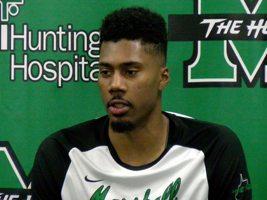 Marshall junior forward Terrence Thompson speaks to the media following the Herd's 81-69 win over North Carolina Central last Saturday. Thompson recorded his first career double-double, finishing with 20 points and 10 rebounds.