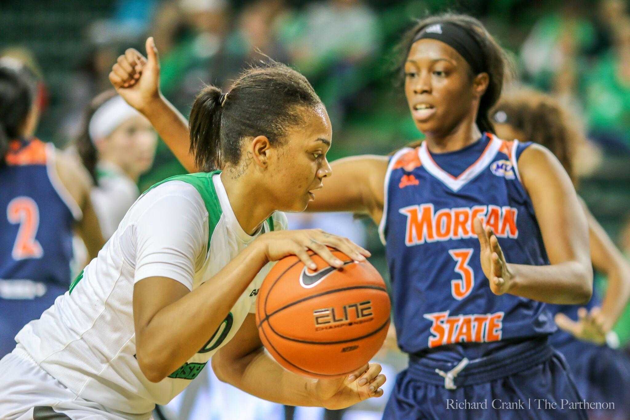 Marshall forward Talequia Hamilton (0) drives to the basket in a 62-43 win over Morgan State.