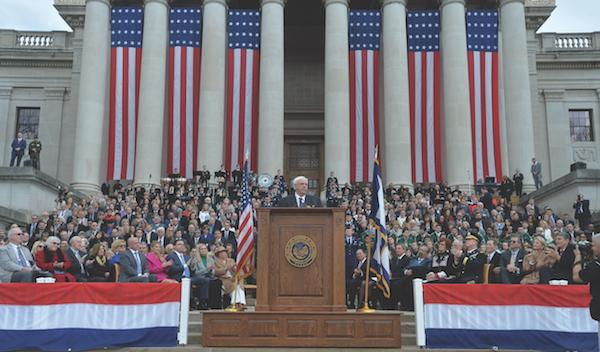 Governor Jim Justice giving his Inauguration on the steps of capitol hill.