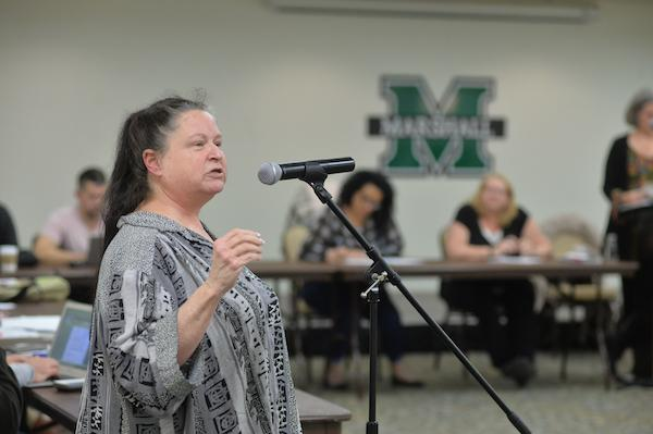 Pamela Mulder raises discussion over student privacy policy during the faculty senate meeting at the Memorial Student Center Tuesday.