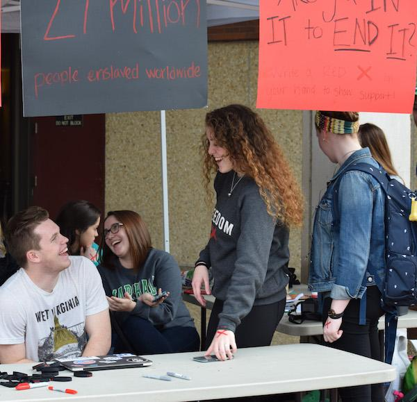Baptist Campus Ministry spending 27 hours outside the Memorial Student Center raising awareness  about human trafficking.