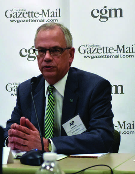 Marshall University President Jerry Gilbert speaks at the West Virginia Legislative Lookahead Feb. 3 about higher education's place in the 2017 legislative session, specifically concerning budget cuts.