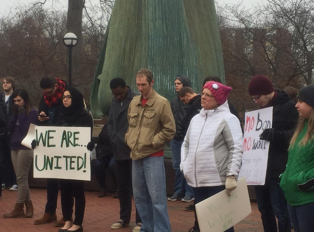 Members of the Marshall community gather at the fountain before marching to show solidarity with INTO students following President Trump's controversial executive order.