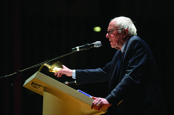 Sen.+Bernie+Sanders+delivers+his+address+to+over+2%2C000+at+the+Charleston+Municipal+Theatre+on+February+13%2C+2016.