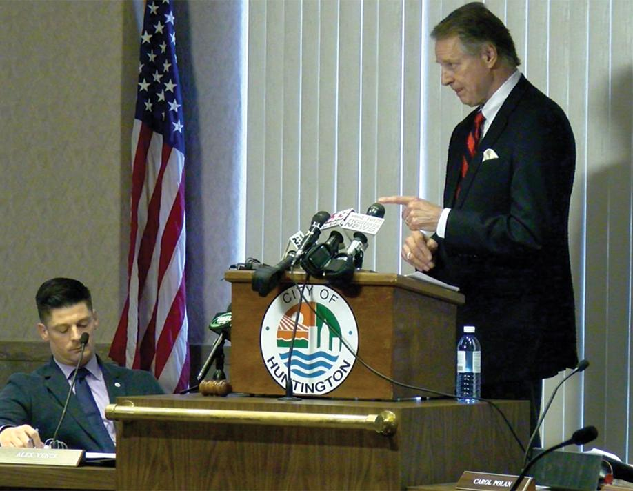 Huntington mayor Steve Williams delivers his State of the City address at City Hall Wednesday afternoon.