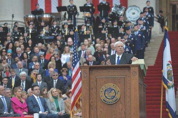 Gov. Jim Justice, speaking at his Inauguration  Jan. 16