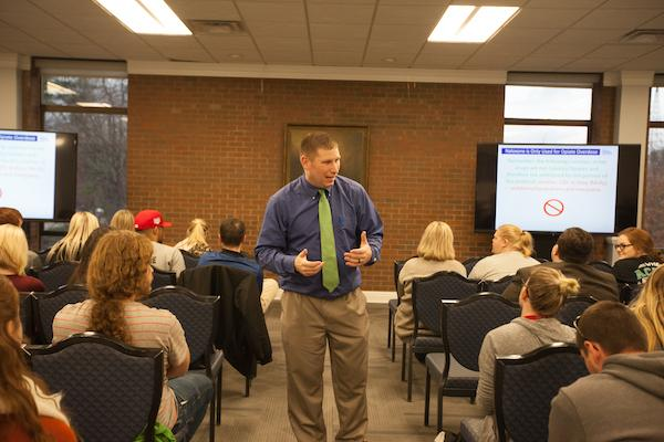 Naloxone training session held inside the Memorial Student Center Wednesday.