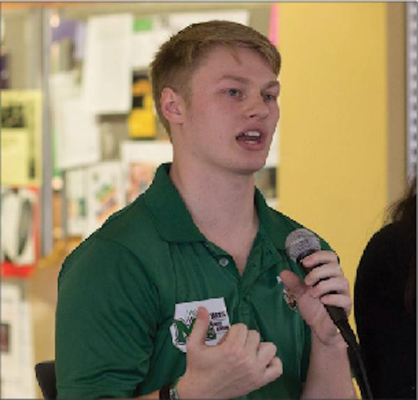 Incumbent SGA President Matt Jarvis addressing students in the Memorial Student Center.