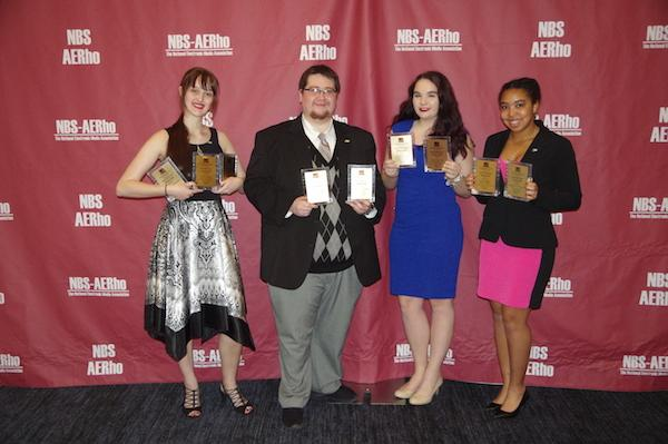 NBS award recepients, From left to right: Monica Zalaznik (Online Director), Adam Rogers (Executive Director), Kyra Biscarner (News Director) and Sage Shavers (Traffic Director).