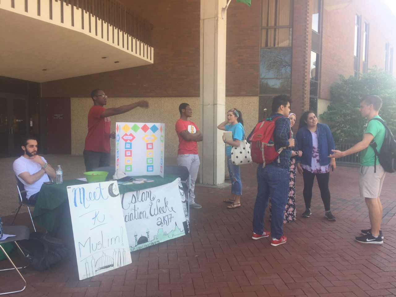 Students gather outside the Marshall Student Center to inform students about the events coming up during Muslim appreciation week.