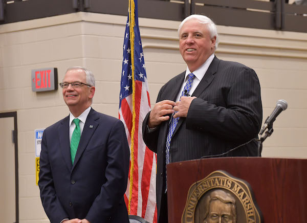 """Marshall President Jerome Gilbert (left) and Gov. Jim Justice attend Justice's """"Save Our State"""" event at Marshall's Arthur Weisburg Family Applied Engineering Complex March 16. Gilbert and Justice both addressed education and opportunities for young people in  West Virginia. (Rick Haye 