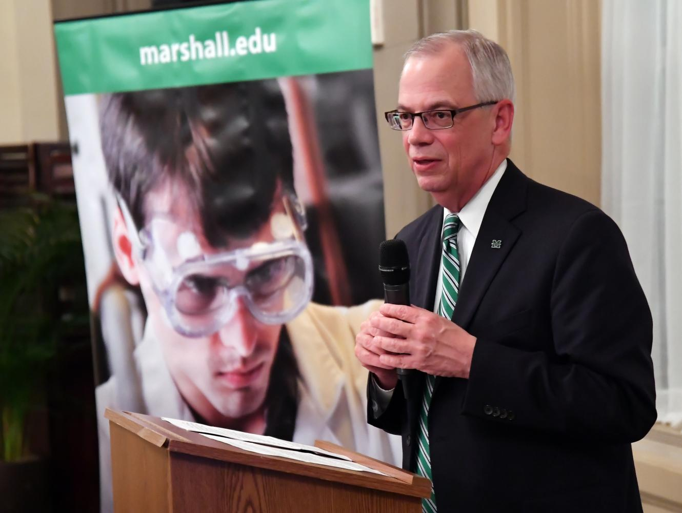 President Jerry Gilbert discusses university objectives and new marketing campaign at  April reception in honor of John Marshall in Richmond, VA.