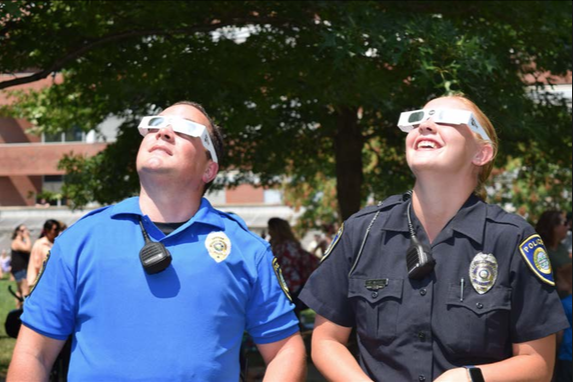 MUPD watching the Solar Eclipse.