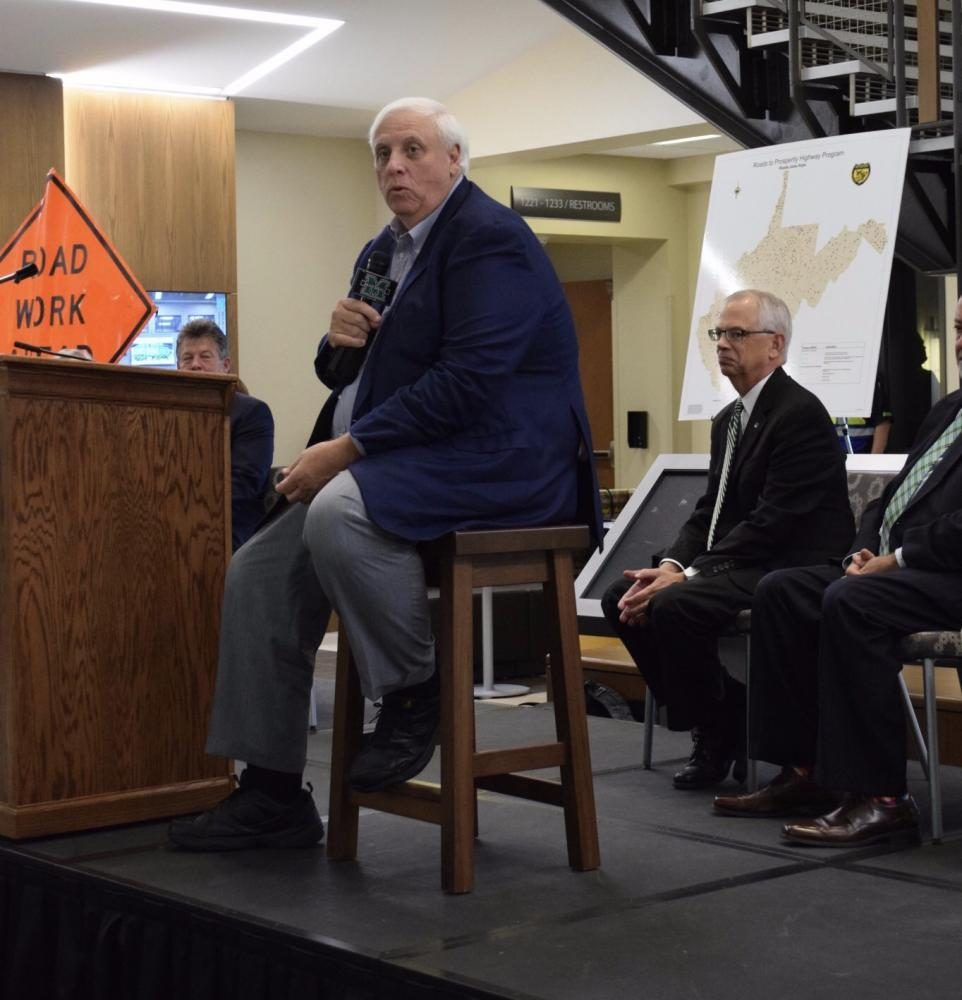 Gov. Jim Justice discusses his Road Bond Referendum during a town hall at Marshall's Arthur Weisberg Family Applied Engineering Complex.