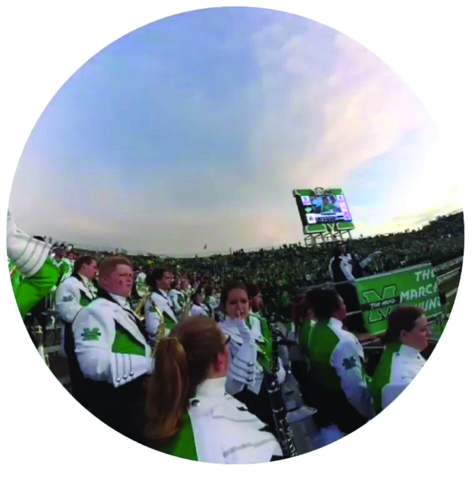 Marching Thunder members can record 10, 20 or 30 second videos with the new Snapchat glasses from the stands or field level.