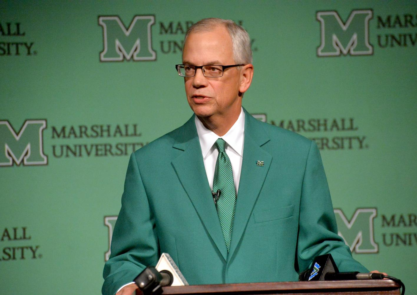 Marshall President Jerry Gilbert speaks at a meet-and-greet in December 2015.