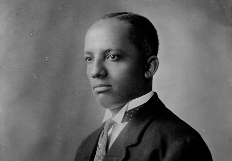 """A portrait of Dr. Carter G. Woodson. Thursday's Woodson Lyceum will feature a reading of """"Carter G. Woodson: History, the Black Press, and Public Relations"""" by Carter G. Woodson and journalism professor Burnis Morris, as well as an unveiling of a website that will serve as a black history kit for educators and the public."""