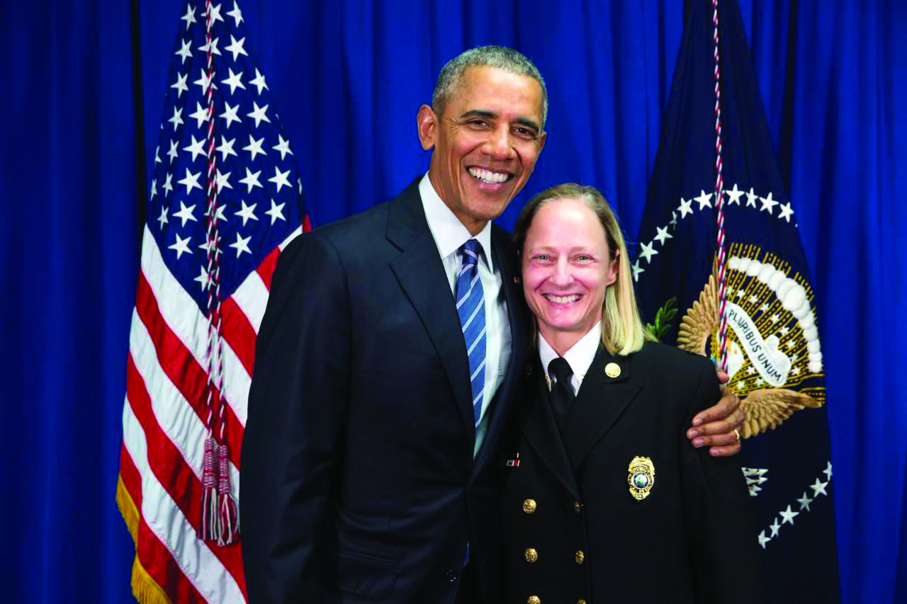 Former President Barack Obama and Jan Rader during her first time meeting President Obama in Charleston.