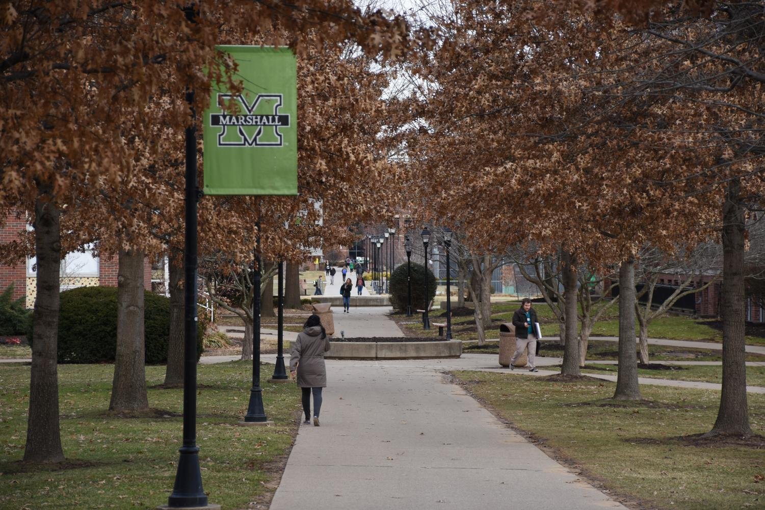 Students walking through campus Monday evening.