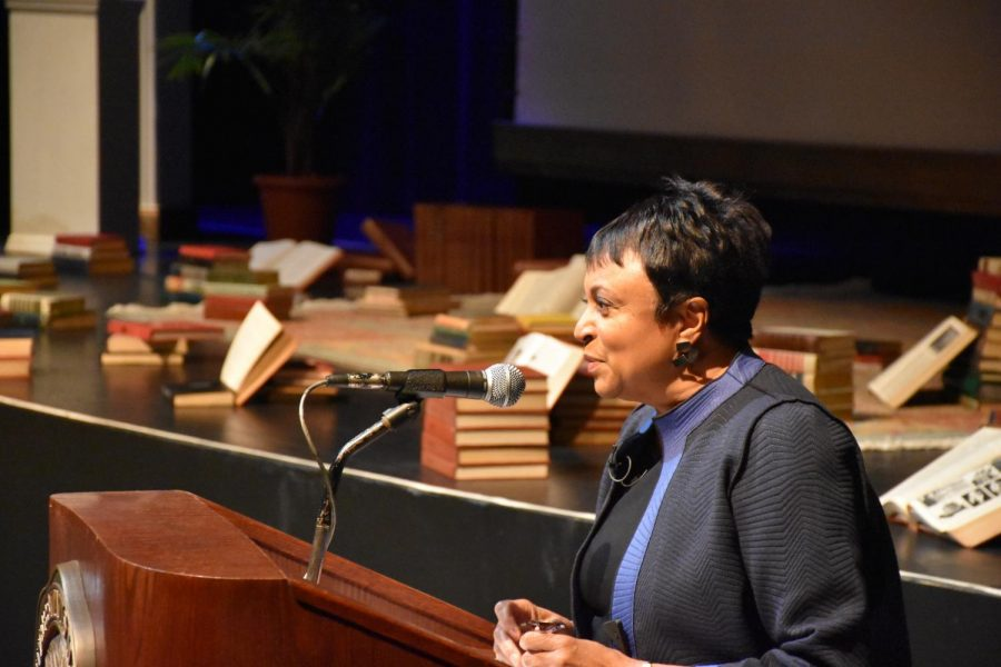 United States Librarian of Congress, Dr. Carla Hayden speaking at the Joan C. Edwards Playhouse. Hayden is the first female and African American Librarian of Congress.