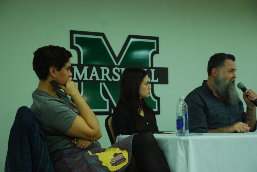 Crystal Good, Elaine McMillion Sheldon and Roger May spoke about the stigmas of Appalachia and their artistic mediums.
