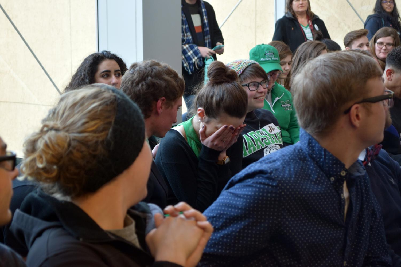 Hunter Barclay and Hannah Petracca react to them winning the SGA election.