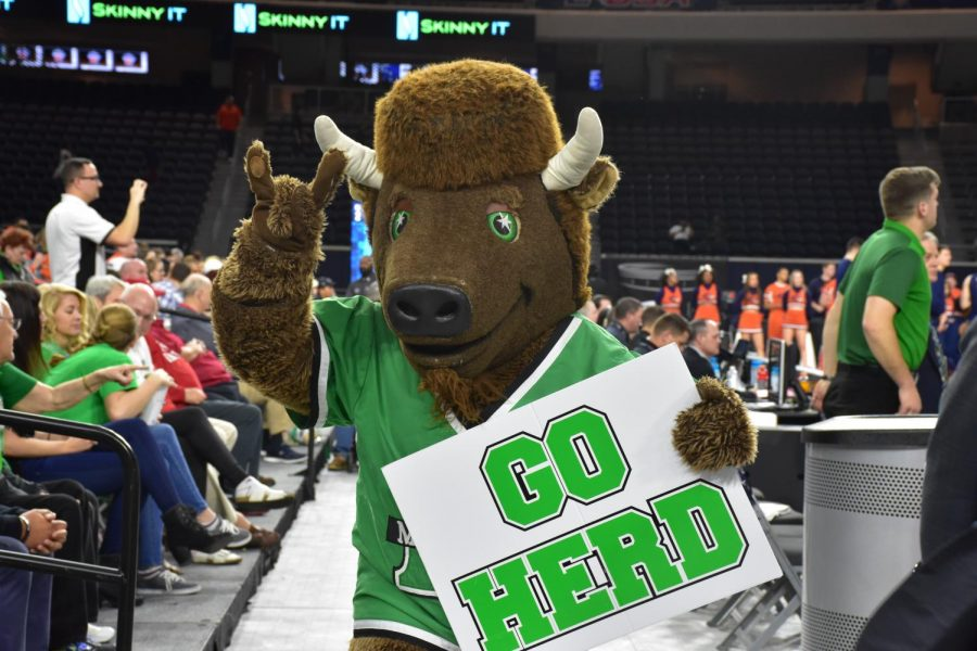 Marco, the Marshall University mascot, holds up a sign during Marshall's quarterfinal win over UTSA.