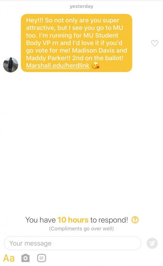 A message sent from the Davis, Parker campaign sent on Bumble.