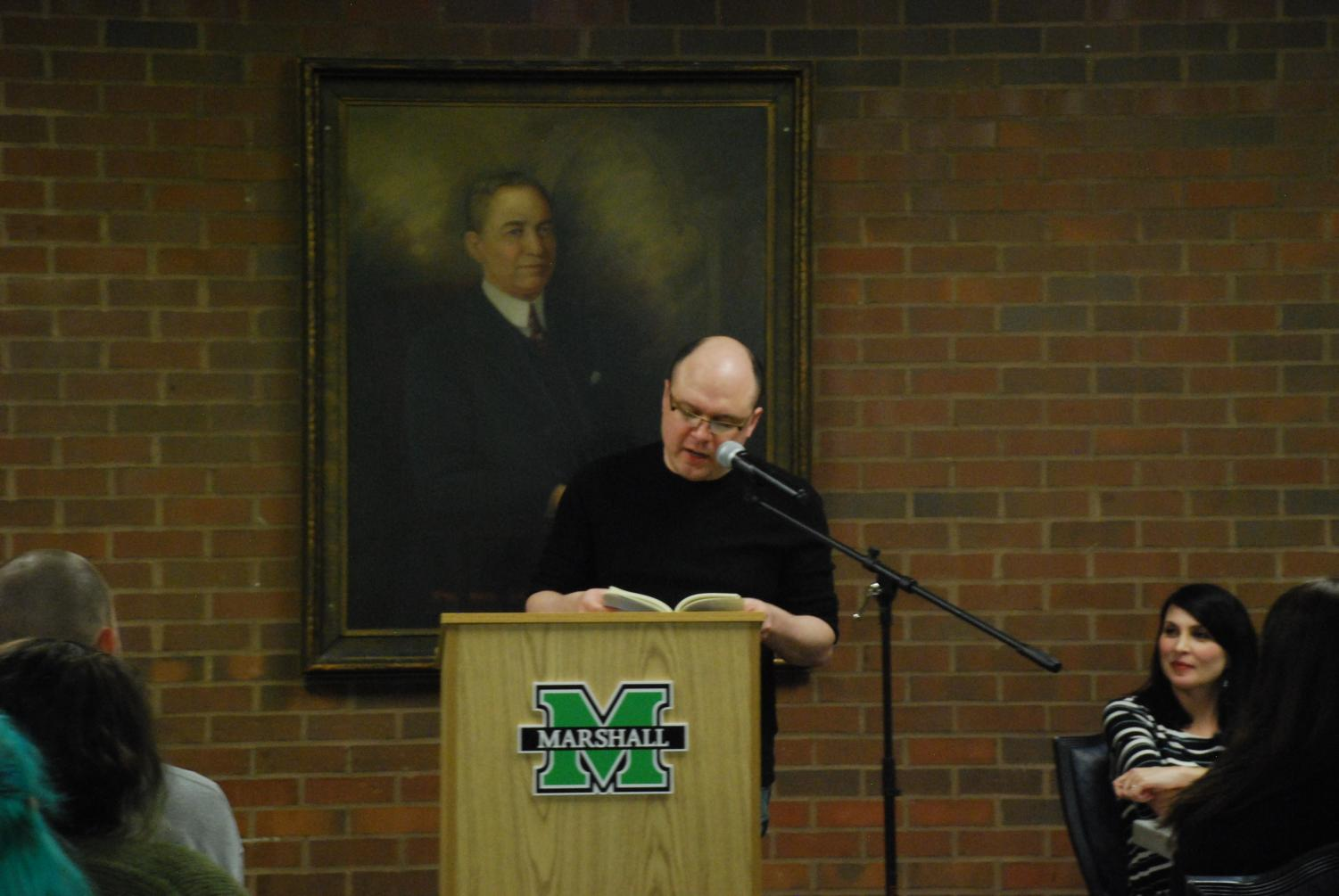 "Matthew Olzmann concluded the event with a lighthearted tone, reading ""The Man Who was Mistaken,"" ""Mountain Dew Commercial Disguised as a Love Poem"" and ""A Letter to Someone 50 Years from Now."""