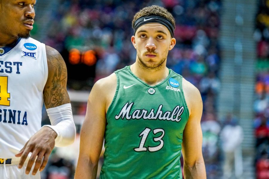 Marshall+guard+Jarrod+West+%2813%29+looks+forward+during+an+NCAA+Tournament+game+against+West+Virginia+on+Mar.+18%2C+2018.