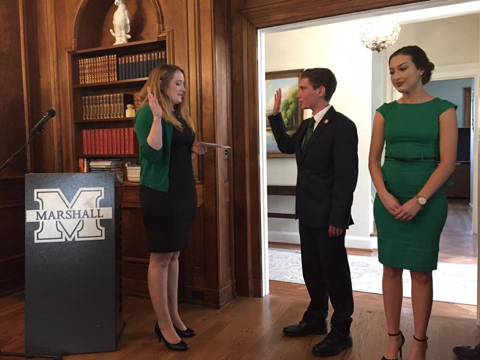 Hunter Barclay being sworn in as Marshall's new Student Government President, Sunday.