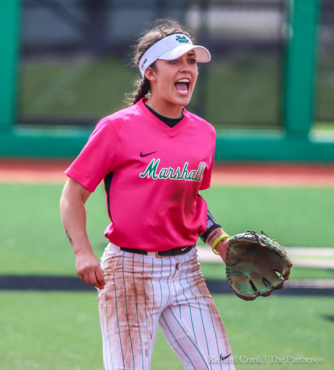 Freshman infielder Grayson Radcliffe exclaims in celebration after Marshall's game three win over Charlotte this past weekend. Radcliffe continues her freshman season as she is early in her collegiate career.
