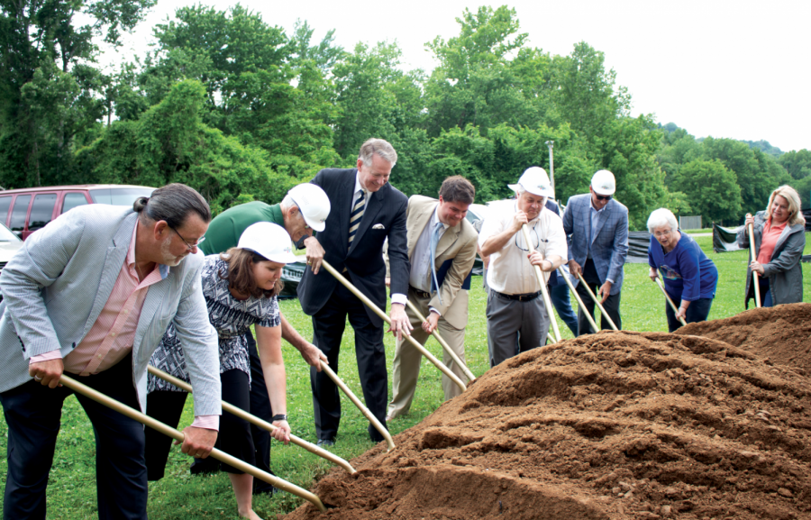 Huntington community leaders participate in a Groundbreaking Ceremony to begin Phase One of the all-inclusive playground at St. Cloud Commons.
