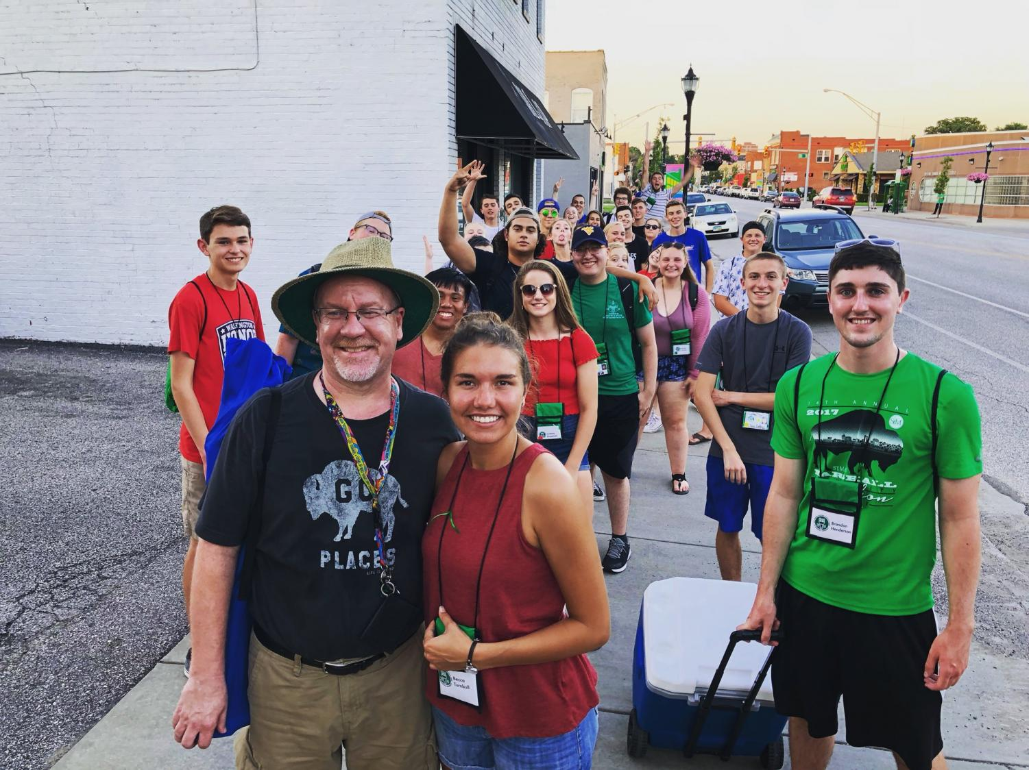 Governor's Honors Academy, led by Dan Hollis and Rebecca Turnbull, walk down Fourth Avenue to the fireworks on Tuesday, July 3.