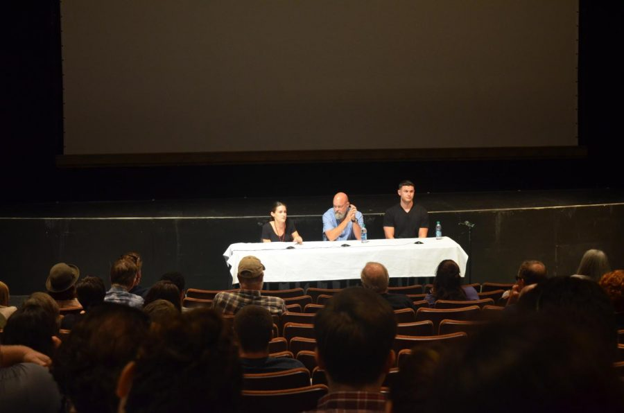 Filmmaker Elaine McMillion Sheldon and subjects Dr. Kevin Blankenship and Joey Ferguson answering questions after Thursday nights showing of Recovery Boys.
