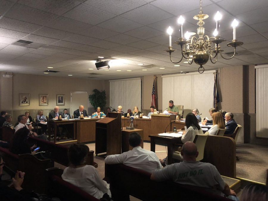 City Council members discuss signing ordinance that would require landlords to register for mandatory maintenance on Monday evening.