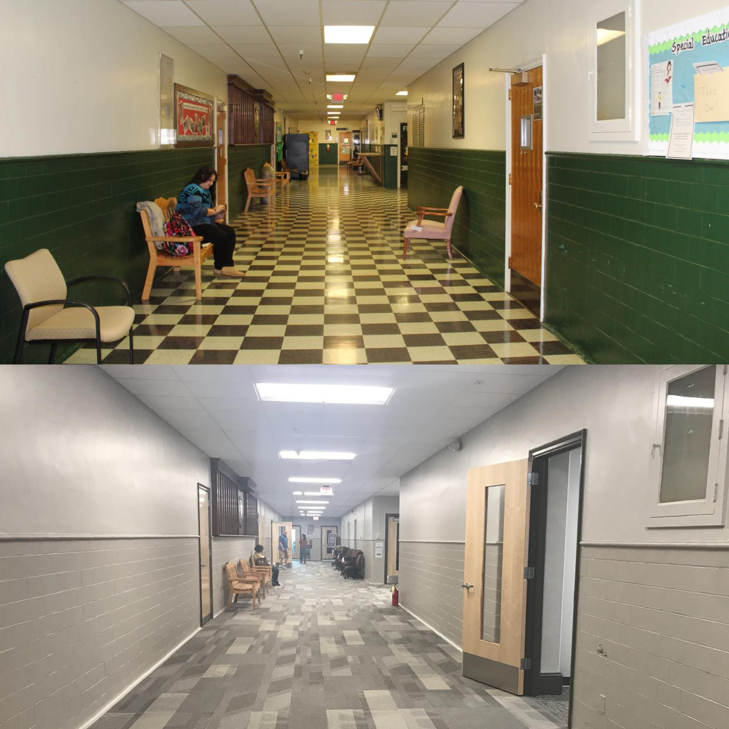 Before and after photos of the renovations done in Jenkins Hall.
