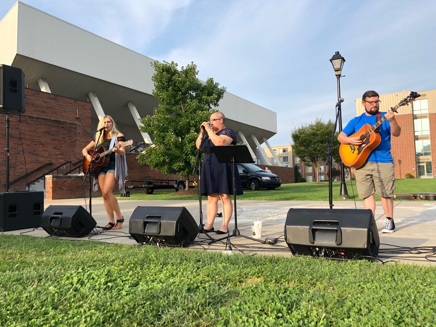 Local Musicians Holly and the Guy and Emmy Davis performed live music while students browsed and mingled during Friday's Taste of Huntington event.