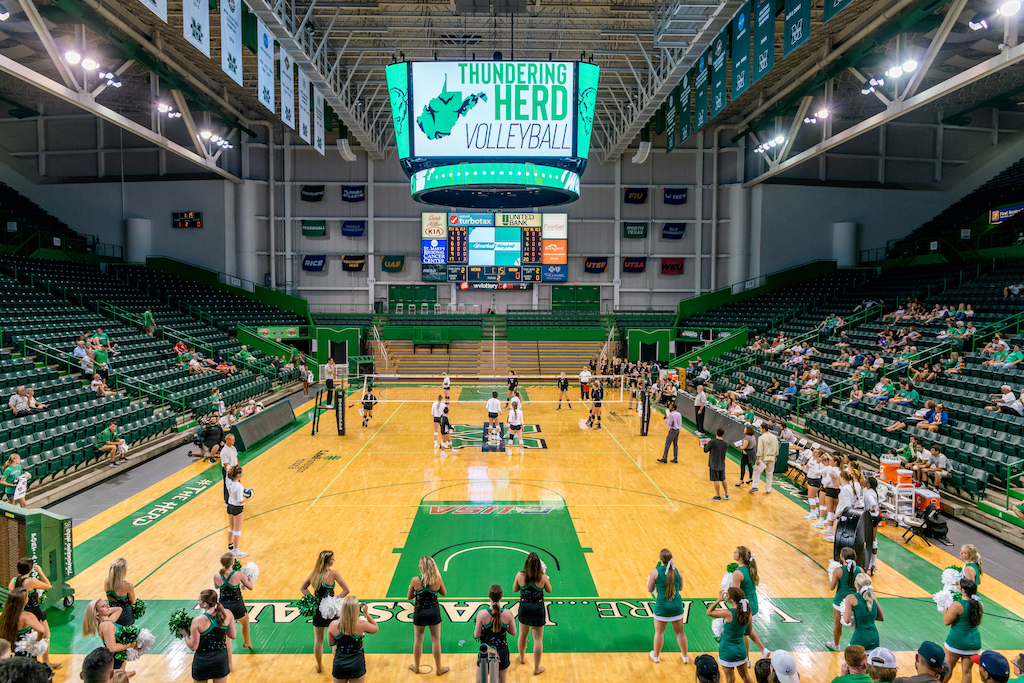 Marshall volleyball plays under the Henderson Center's new videoboard as the Herd defeats Ohio 3-1.