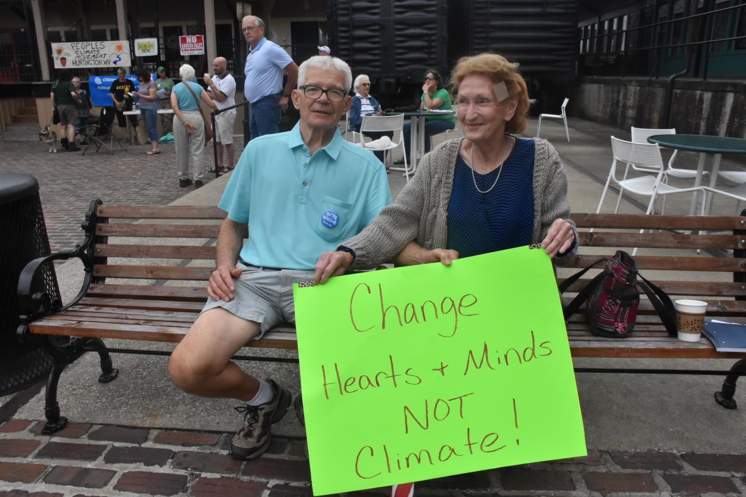 Warren Whitaker  and Marylin Potts attended Saturday's rally to voice their opinions on the president's stance on environmental protections to express their concern.
