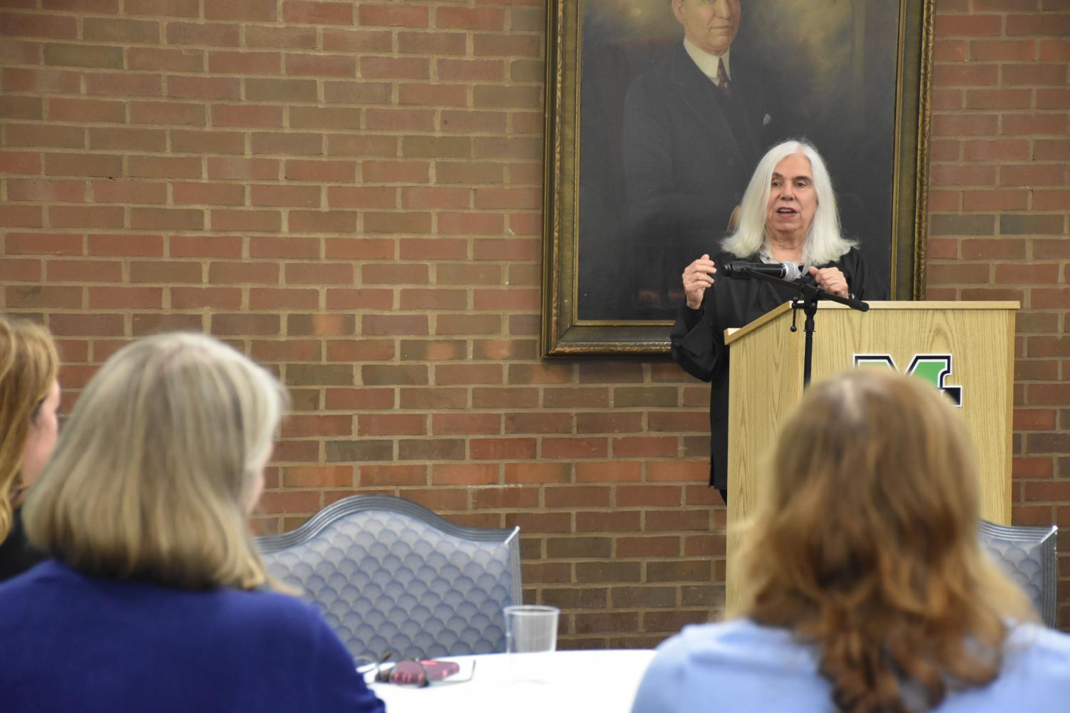 Virginia Valian lecturing to students, faculty and staff during the 5 p.m. session on Monday, Sept. 10 in the Shawkey Dining Room. Valian  tailored the session to Marshall's campus, and she gave advice on how students can utilize their resources to succeed.