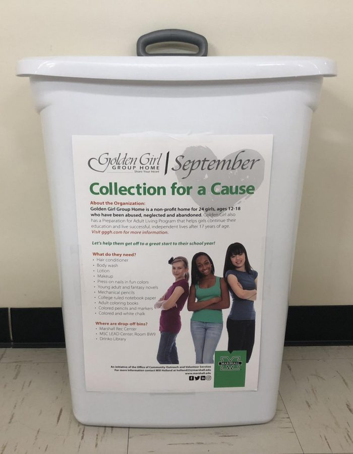 Collection+for+a+Cause+donations+are+being+collected+at+Marshall%E2%80%99s+Recreation+Center%2C+Drinko+Library+and+the+LEAD+Center.