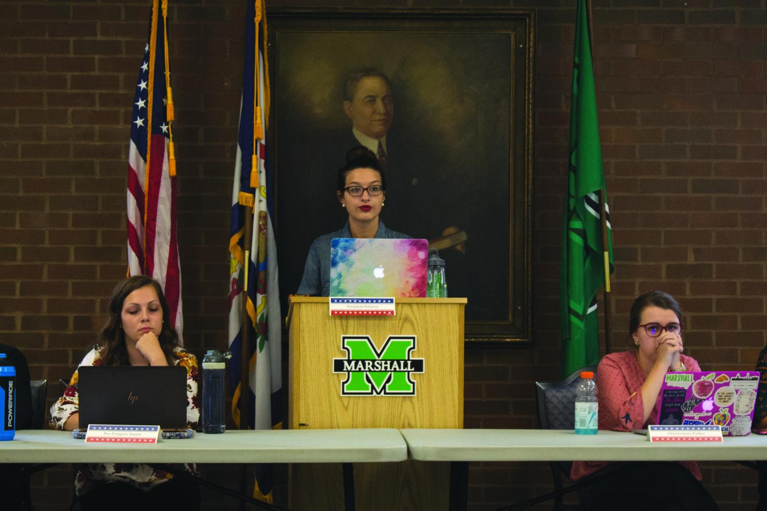 Hannah Petracca served as presiding officer at SGA's weekly meeting to discuss legislation and honor military personnel.