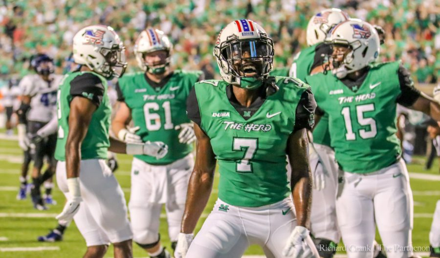 Junior+wide+receiver+Obi+Obialo+celebrates+a+touchdown+reception+in+Marshall%E2%80%99s+game+against+Middle+Tennessee.+Obialo+is+one+of+Marshall%E2%80%99s+most+productive+receivers.