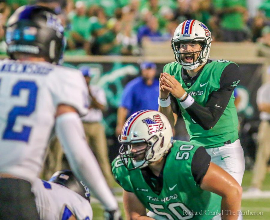 Marshall+redshirt+junior+quarterback+Alex+Thomson+prepares+to+take+a+snap+under-center+against+MTSU+in+Saturday%E2%80%99s+home+loss--his+first+game+for+the+Herd.