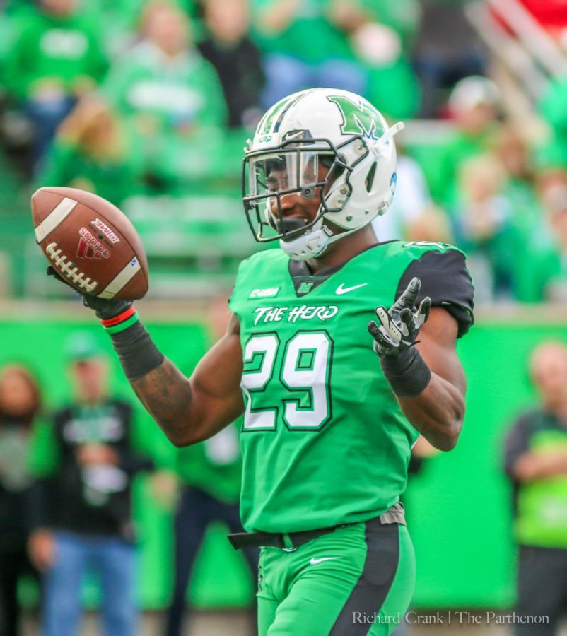 Safety+Malik+Gant+celebrates+an+interception+against+Florida+Atlantic+on+Oct.+20%2C+2018.+Gant+declared+for+the+2019+NFL+Draft+on+Thursday.