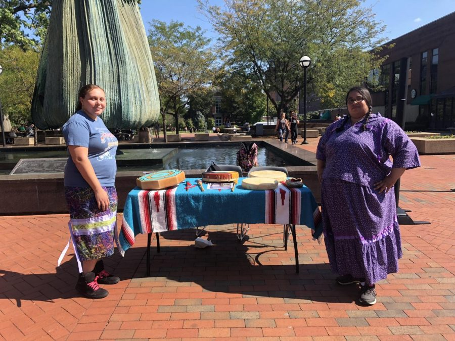 President and treasurer of Marshall's Native American Student Organization, Autumn Lee and Karshara Spaulding, displayed native cultural items and spoke of their meanings and traditions to interested students.